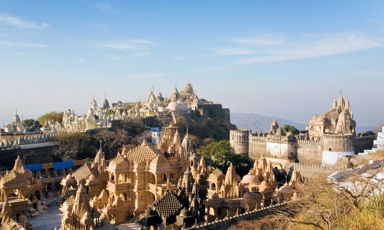بضعة معابد من 863 معبدًا في جبل شاترونجايا، ولاية غوجارات (الهند). © Éditions Agora - Leroy Francis/hemis.fr